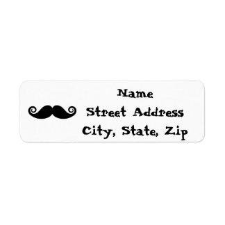 Curly Mustache Return Address Label