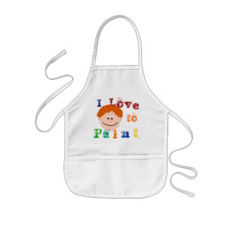 Curly Red Hair Face Childrens Painting Apron