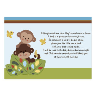 Curly Tails Monkey Friends Favor Tag/Request card Large Business Card