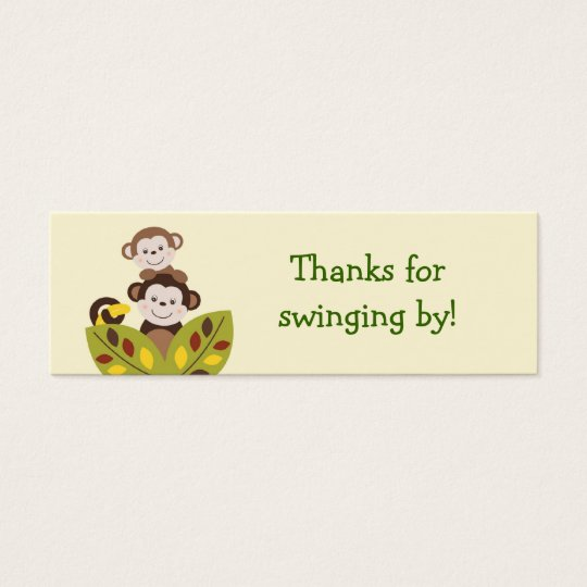 Curly Tails Monkey Jungle Favour Gift Tags Mini Business Card
