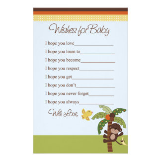 Curly Tails Monkeys Wishes for Baby Shower Stationery