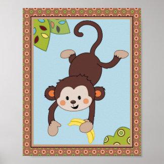 Curly Tails - Silly Monkey Nursery/Kids Art Print