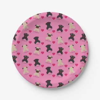 Curly Tails Squishy Faces Front Back Pugs Party 7 Inch Paper Plate