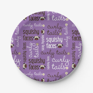 Curly Tails Squishy Faces Fun Type Design Party 7 Inch Paper Plate