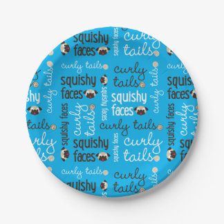 Curly Tails Squishy Faces Pug Party 7 Inch Paper Plate