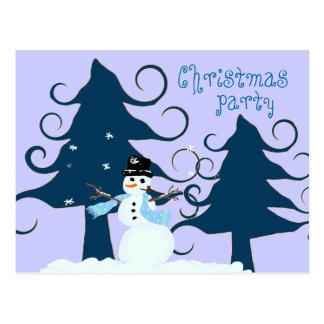 Curly Trees Purple Christmas Party Invitation Postcard