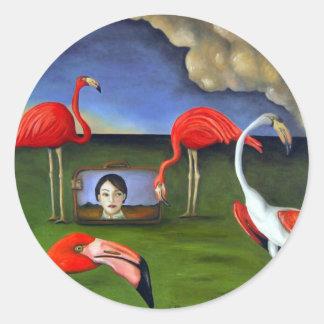 Curoisity-Flamingos Round Sticker