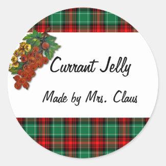 Currants Green Red Plaid Custom Holiday Recipe Lab Classic Round Sticker