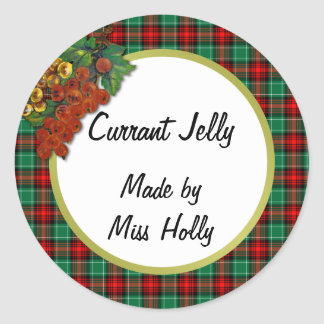 Currants Green Red Plaid Custom Recipe Sticker