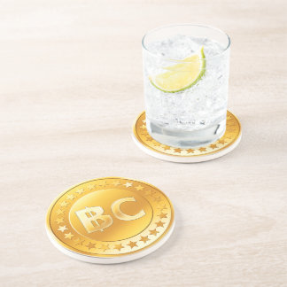 Currency Bitcoin - round Posavasos M4 Coaster