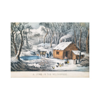 "Currier and Ives Print ""A Home In The Wilderness"""