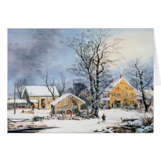 Currier démodé et carte de Noël d'Ives