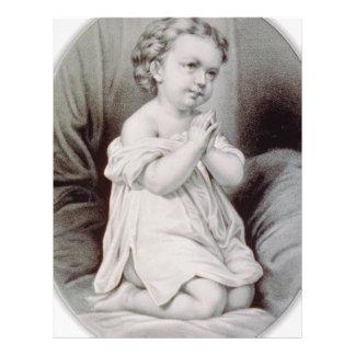 Currier & Ives First Prayer Christmas 1897 WoW Custom Letterhead