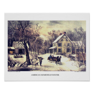 Currier & Ives Lithograph: American Homestead Wint Poster