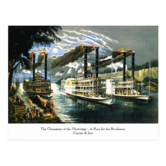 Currier & Ives - Postcard - Champions Mississippi