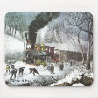 Currier & Ives Railroad Scene Snowbound mousepad