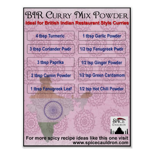 Curry Powder Recipe Poster