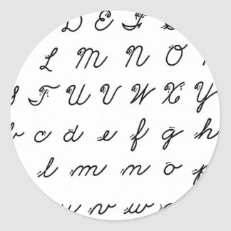 cursive handwriting chart classic round sticker