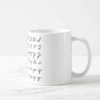 cursive handwriting chart coffee mug
