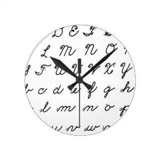 cursive handwriting chart round clock