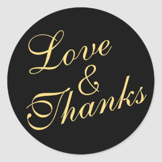 Cursive Love & Thanks Wedding Gold & Black Round Sticker
