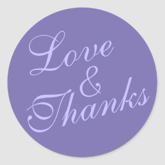 Cursive Love & Thanks Wedding Very Purple Classic Round Sticker