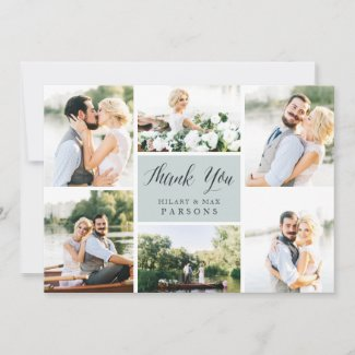 Cursive | Wedding Photo Flat Thank You Card