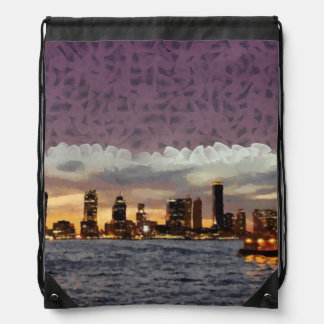 Curtain coming down drawstring bag