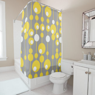 Curtain of Bath Pending Spheres Yellow and Gray