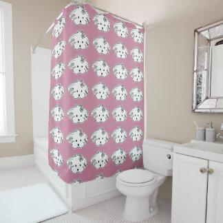 Curtain pink bath, small dog, the world of Lua