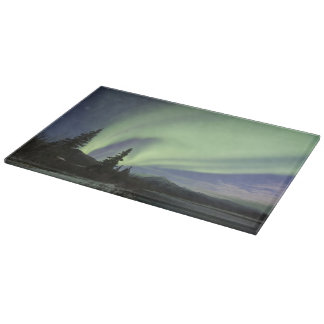 Curtains of green aurora borealis in the sky 2 boards