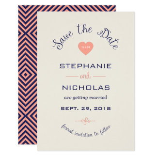 Curve love heart wedding save the date card