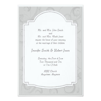 Curved Art Deco Diva in Grey Wedding Invitation