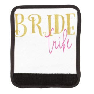 Curved Bride Tribe Pink and Gold Luggage Handle Wrap