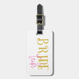 Curved Bride Tribe Pink and Gold Luggage Tag