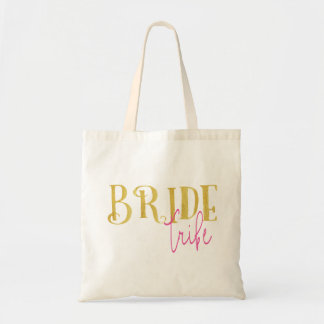 Curved Bride Tribe Pink and Gold Tote Bag