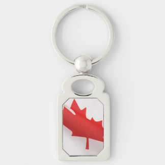 Curved Canada flag Silver-Colored Rectangle Keychain