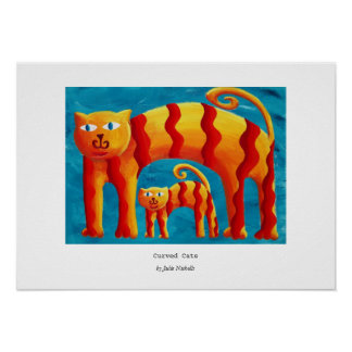 Curved Cats Poster