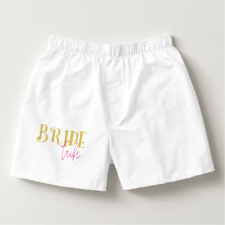 Curved Gold Pink Bride Tribe Boxers