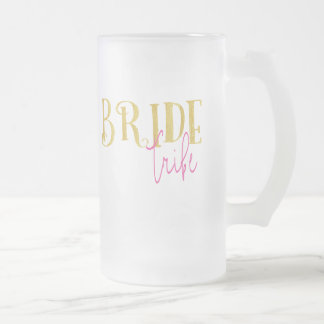 Curved Gold Pink Bride Tribe Frosted Glass Beer Mug