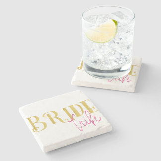 Curved Gold Pink Bride Tribe Stone Coaster