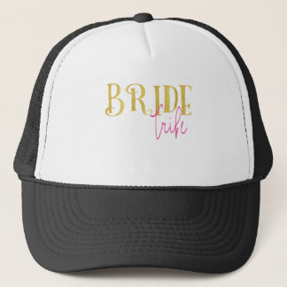 Curved Gold Pink Bride Tribe Trucker Hat