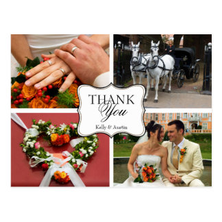 Curved thank you 4 photo montage personal note postcard