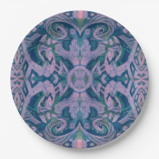 Curves & Lotuses, abstract floral, lavender & blue 9 Inch Paper Plate