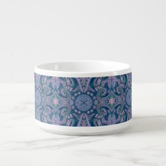 Curves & Lotuses, abstract floral, lavender & blue Chili Bowl