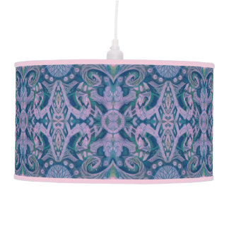Curves & Lotuses, abstract floral, lavender & blue Hanging Pendant Lamp