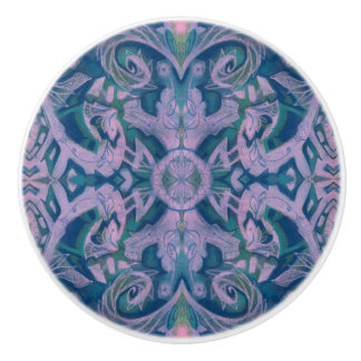 Curves & Lotuses, abstract pattern lavender & blue Ceramic Knob