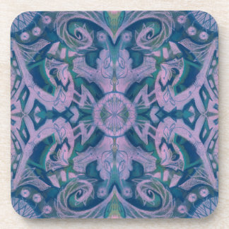 Curves & Lotuses, abstract pattern lavender & blue Coaster
