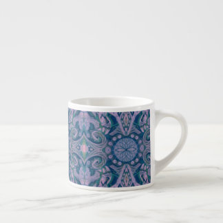 Curves & Lotuses, abstract pattern lavender & blue Espresso Cup