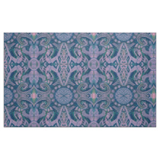 Curves & Lotuses, abstract pattern lavender & blue Fabric